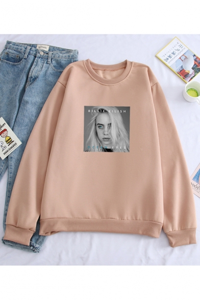 Hot Popular Singer Figure Printed Crewneck Long Sleeve Loose Relaxed Sweatshirt