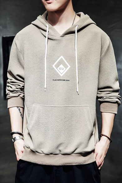 Mens New Stylish Graphic Printed Long Sleeve Casual Loose Fit Drawstring Pullover Hoodie