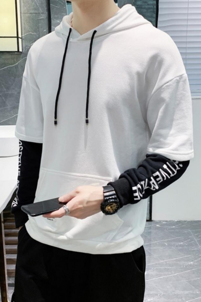 Mens Popular Letter Printed Colorblocked Long Sleeve Fake Two Piece Casual Loose Hoodie