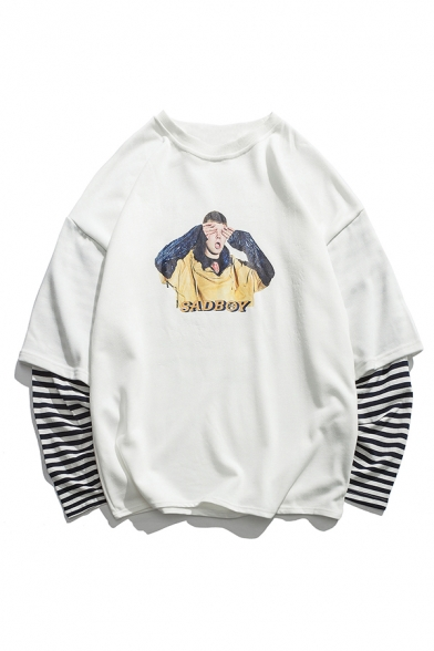 Trendy Letter SAD BOY Figure Printed Contrast Striped Long Sleeve Fake Two-Piece Unisex Casual Sweatshirt