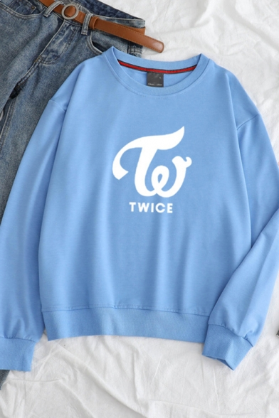 TWICE Letter Print Long Sleeves Round Neck Loose Sweatshirt
