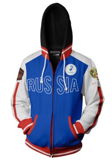 3D RUS SIA Letter Eagle Printed Back Long Sleeve Cosplay Blue Zip Up Hoodie