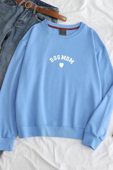 DOG MOM Letter Print Round Neck Long Sleeve Pullover Sweatshirt