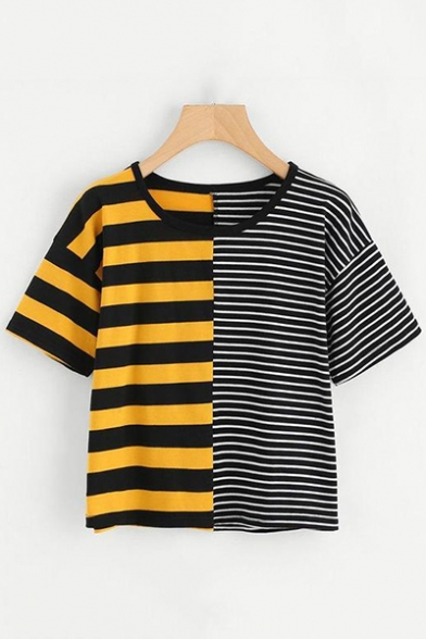 Fashionable Striped Pattern Round Neck Short Sleeves Summer T-shirt