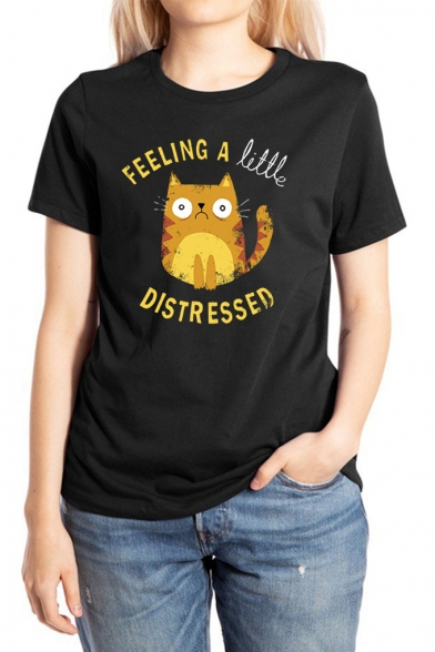 FEELING A LITTLE DISTRESSED Letter Cartoon Cat Printed Round Neck Short Sleeve T-Shirt