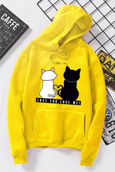 Funny Cartoon Couple Cat Letter LOVE YOU LOVE ME Printed Long Sleeve Unisex Hoodie