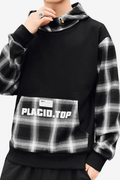 Guys Stylish Letter PLACIO TOP Printed Plaid Patched Long Sleeve Casual Pullover Hoodie with Pocket