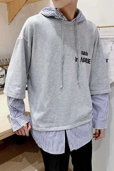 Mens Stylish Letter Embroidery Chic Stripe Patched Fake Two-Piece Long Sleeve Casual Loose Hoodie