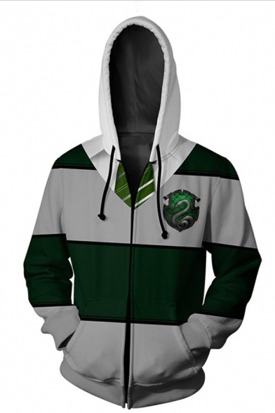 New Stylish Comic 3D Snake Striped Printed Grey And Green Zipper Hoodie