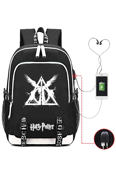New Trendy Harry Potter Printed Fashion USB Charge School Bag Backpack 30*15*44cm