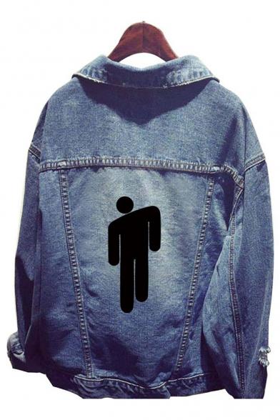 Popular Singer Puppet Printed Button Front Unisex Blue Denim Jacket