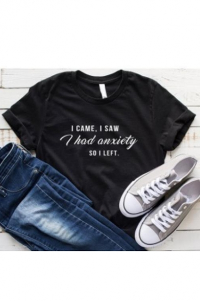 Street Style Letter I HAD ANXIETY Print Round Neck Short Sleeve Black Tee, LC560090