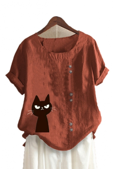 Cute Cartoon Cat Printed Button Embellished Round Neck Short Sleeve Linen Loose Tee, LC560081, Green;red;white