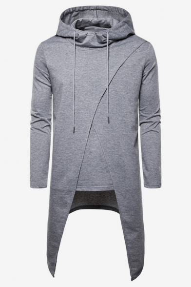 Men's Stylish Simple Solid Color Asymmetrical Hem Longline Relaxed Drawstring Hoodie