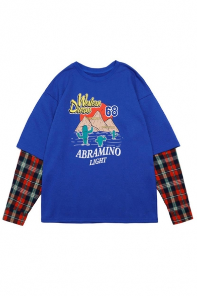 Mens Trendy Cartoon Cactus Mountain Letter ABRAMINO LIGHT Printed Plaid Patched Fake Two Piece Long Sleeve Round Neck Casual Sweatshirt