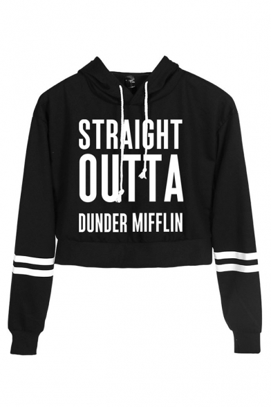 New Fashion Letter Straight Outta Dunder Mifflin Print Stripe Long Sleeve Crop Hoodie
