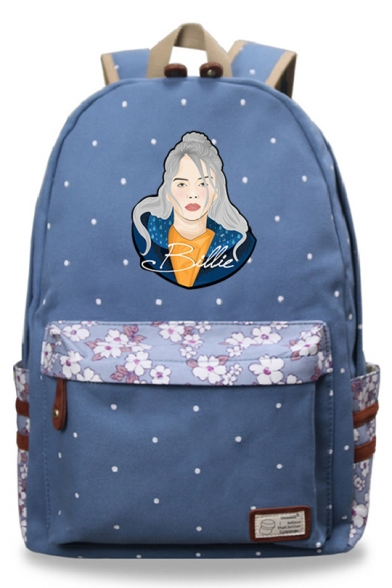 Popular Figure Floral Printed Unisex Students School Bag Backpack 30*14.5*42cm