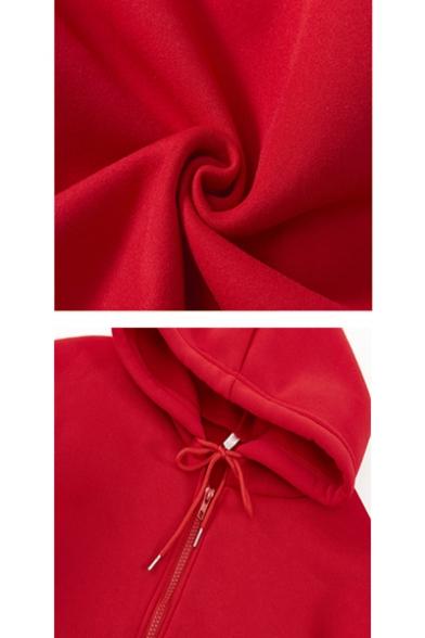 Unisex Mexicam Dog Letter Printed Long Sleeve Zip Up Hoodie