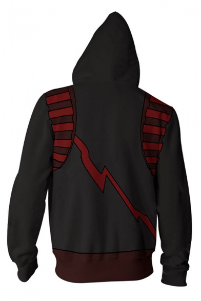Black and Red 3D Printed Unisex Loose Relaxed Zip Up Hoodie