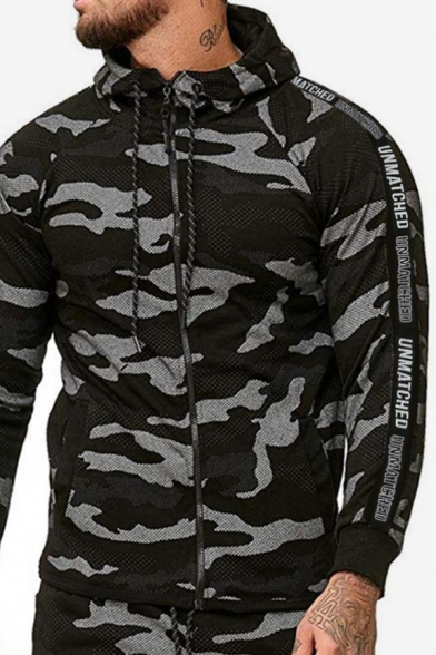Mens Cool Fashion Camouflage Printed Letter Tape Side Long Sleeve Slim Fit Casual Sports Zip Up Hoodie