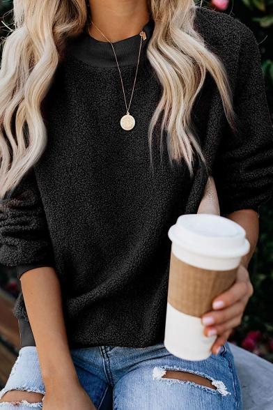 Hot Popular Round Neck Long Sleeve Fluffy Fleece Loose Casual Sweatshirt, Black;pink;beige;gray;khaki;army green, LC562565