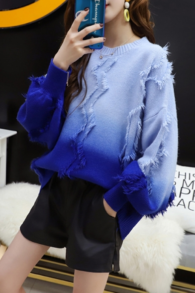 Ladies Fashion Blue Ombre Print Tassel Round Neck Bloom Sleeve Knitwear Sweater, LM557092, Blue;green;purple