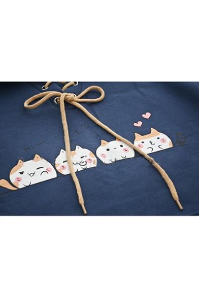 Lovely Cat Pattern Long Sleeve Lapel Collar Tie Front Pocket Loose Sweatshirt For Girls