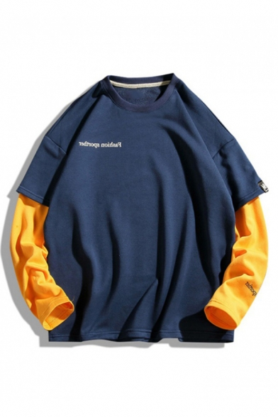 Mens New Fashion Letter Embroidered Colorblocked Long Sleeve Round Neck Casual Loose Sweatshirt