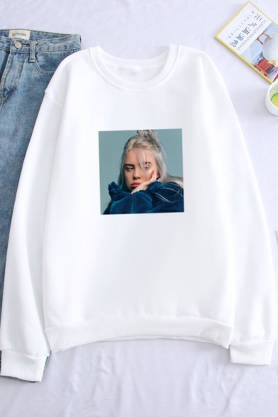 Popular Singer Figure Printed Crewneck Long Sleeve Loose Fitted Sweatshirt, LC558954, Black;white;gray;khaki