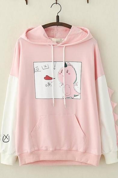 Cartoon Dinosaur Letter Pattern Long Sleeve Dinosaur Shape Color Block Loose Casual Hoodie for Juniors