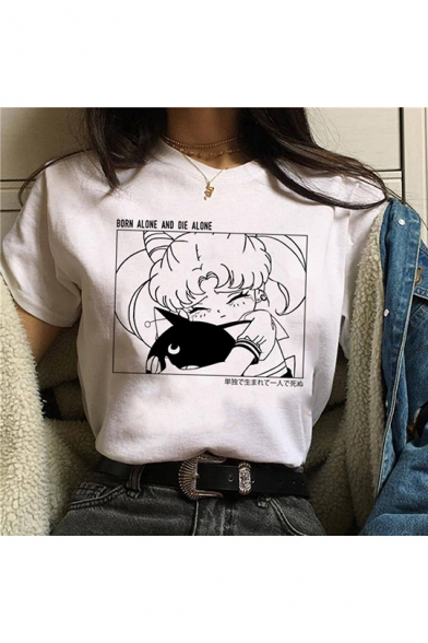 Funny Comic Anime Character Printed Round Neck Short Sleeve White Tee