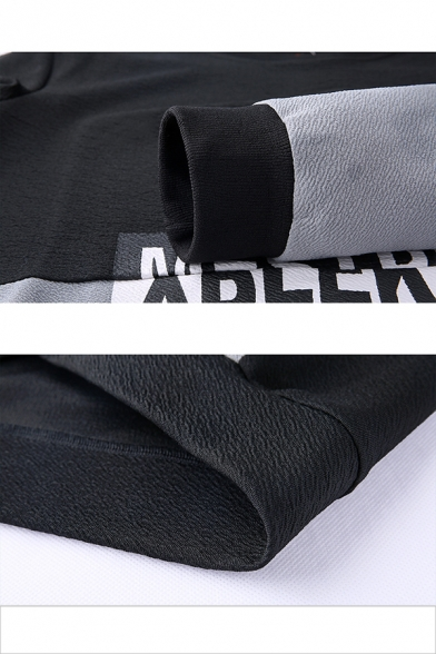 Mens New Fashion Colorblock Letter Printed Long Sleeve Round Neck Casual Sport Pullover Sweatshirt