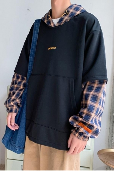 Mens Trendy Plaid Patched Long Sleeve Fake Two-Piece Casual Loose Pullover Hoodie