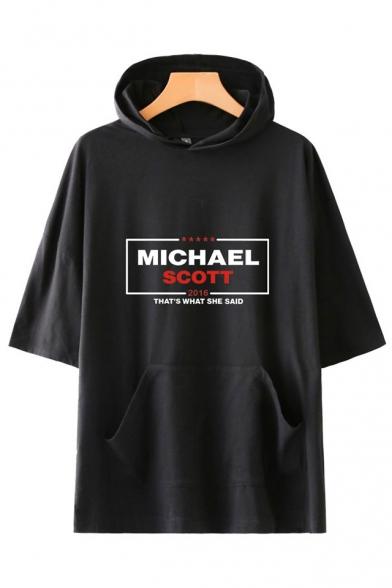 New Trendy Letter Michael Scott Pattern Basic Short Sleeve Hooded Unisex T-Shirt