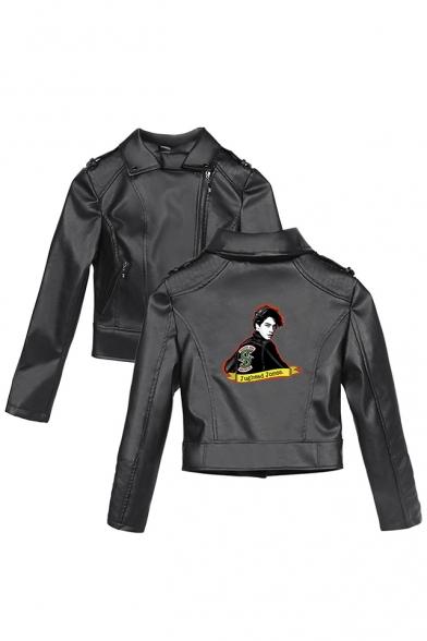 Popular Riverdale Figure Printed Lapel Collar Black Zip Up PU Crop Biker Jacket, LM560031, Color 1;color 2;color 3;color 4;color 5