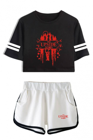 Stranger Things Upside Down Stripe Short Sleeve Crop Tee with Casual Dolphin Shorts Two-Piece Set, LC559008, Color 1;color 2;color 3;color 4;color 5;color 6;color 7;color 8