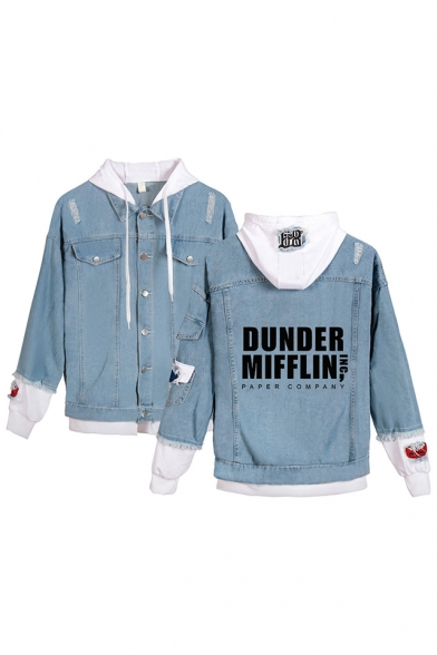 Trendy Letter Dunder Mifflin Print Patched Long Sleeve Hooded Button Down Ripped Denim Jacket