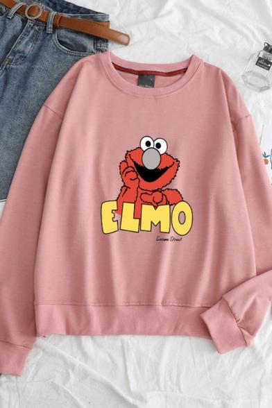 ELMO Letter Cartoon Animal Printed Round Neck  Long Sleeve Loose Sweatshirt