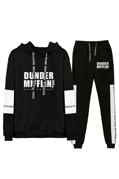 Fashion Letter Dunder Mifflin Printed Long Sleeve Hoodie with Sport Joggers Sweatpants Two-Piece Set, Black;dark navy;white;gray, LC560376