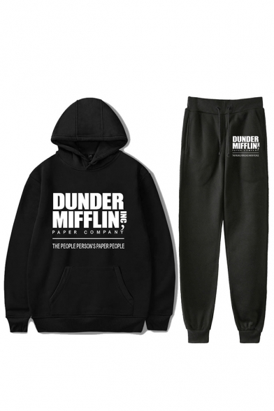 Hot Popular Letter Dunder Mifflin Printed Hoodie with Sport Joggers Sweatpants Two-Piece Set, Black;dark navy;red;white;gray, LC560362