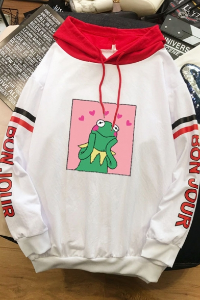 Cartoon Cute Dinosaur Letter BON JOUR Printed Striped Long Sleeve White Hoodie