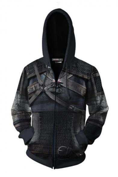 Cool 3D Armour Comic Cosplay Costume Dark Navy Long Sleeve Zip Up Hoodie