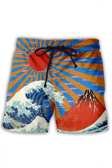 Fashion Ukiyo-e Style 3D Wave Pattern Drawstring Waist Beach Swim Shorts