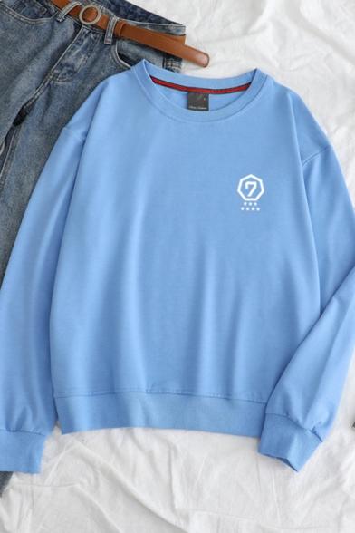 Geometry Number Print Long Sleeve Round Neck Pullover Leisure Sweatshirt