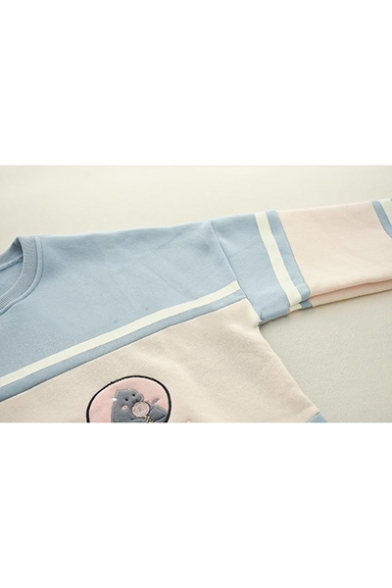 Girls Cartoon Bear Letter Embroidered Color Block Patchwork Long Sleeve Round Neck Sweatshirt