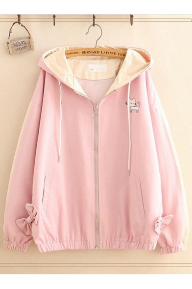Girls Cute Cat Patter Casual Loose Leisure Hooded Long Sleeve Zip Up Jacket Coat With Pockets