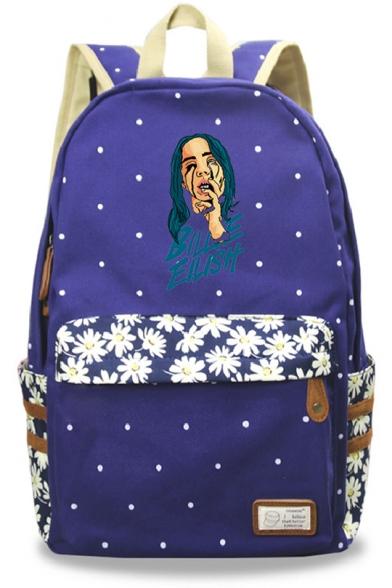 Trendy Popular Singer Bleeding Figure Floral Pattern School Bag Backpack 30*14.5*42cm