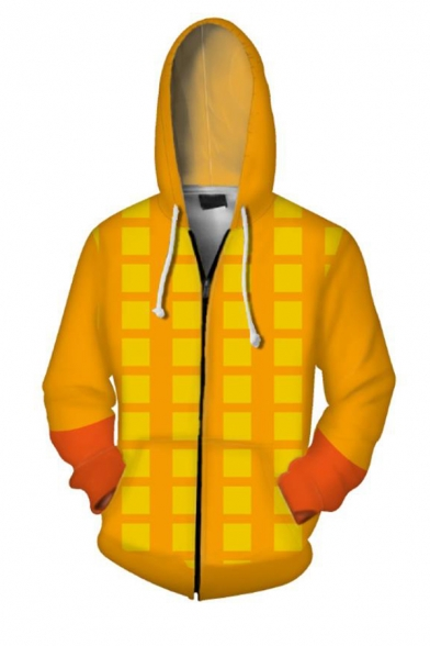 3D Fashion Pattern Long Sleeve Cosplay Costume Pocket Yellow Zip Up Hoodie