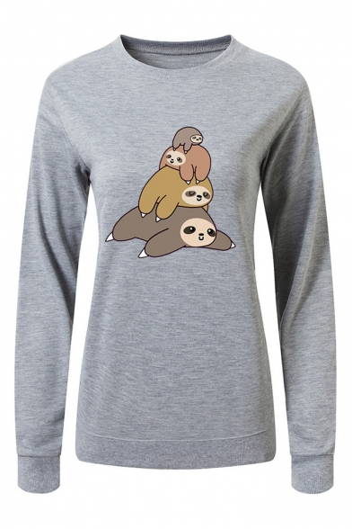 Cartoon Lazy Sloth Pattern Round Neck Long Sleeve Sweatshirt