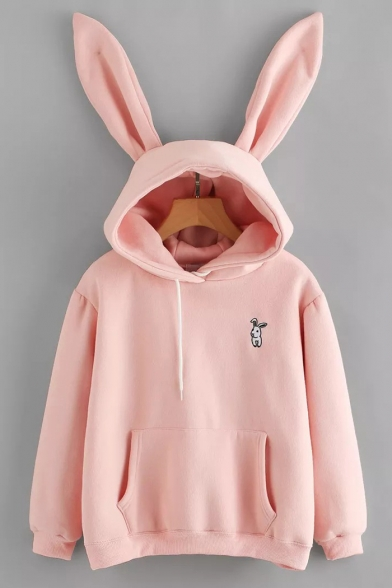 Cute Rabbit Embroidered Long Sleeve Pocket Hoodie With Rabbit Ear Hood